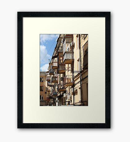 Balconies like birdhouses Framed Print