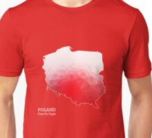 Poland first to fight. Map of Poland with geometric pattern in Poland's national colors. Low poly Unisex T-Shirt