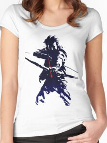 blue arrow Women's Fitted Scoop T-Shirt