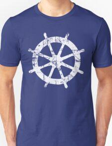Steering Wheel Vintage Sailing Design (White) T-Shirt