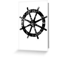 Steering Wheel Vintage Sailing Design Greeting Card