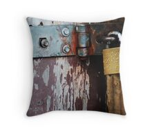 Rustic padlocked hinge Throw Pillow