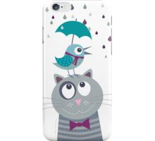 Birdy and cat love rainy day iPhone Case/Skin