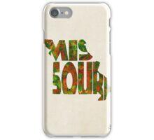 Missouri Typographic Watercolor Map iPhone Case/Skin