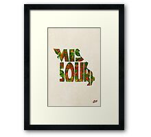 Missouri Typographic Watercolor Map Framed Print