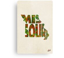 Missouri Typographic Watercolor Map Metal Print
