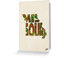Missouri Typographic Watercolor Map Greeting Card