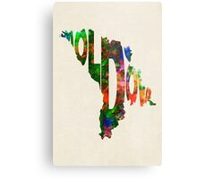Moldova Typographic Watercolor Map Metal Print