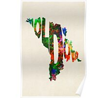 Moldova Typographic Watercolor Map Poster