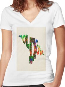 Moldova Typographic Watercolor Map Women's Fitted V-Neck T-Shirt