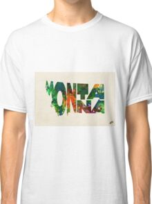 Montana Typographic Watercolor Map Classic T-Shirt