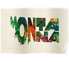 Montana Typographic Watercolor Map Poster