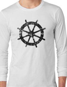 Steering Wheel Vintage Sailing Design Long Sleeve T-Shirt