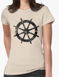 Steering Wheel Vintage Sailing Design (Black) Womens Fitted T-Shirt