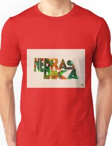 Nebraska Typographic Watercolor Map Unisex T-Shirt