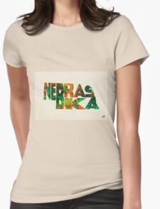 Nebraska Typographic Watercolor Map Womens Fitted T-Shirt