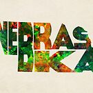 Nebraska Typographic Watercolor Map by Deniz Akerman