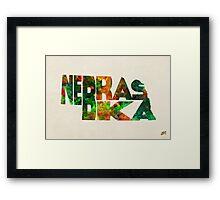 Nebraska Typographic Watercolor Map Framed Print