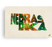 Nebraska Typographic Watercolor Map Canvas Print