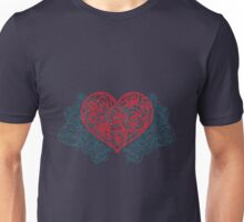 Heart filled with roses pattern. Vintage retro valentines card. Flower pattern Unisex T-Shirt