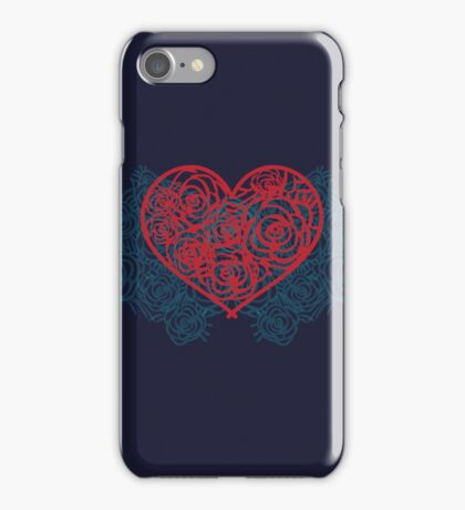 Heart filled with roses pattern. Vintage retro valentines card. Flower pattern iPhone Case/Skin