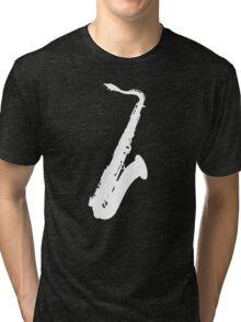 Saxophone blanc Tri-blend T-Shirt