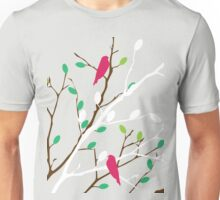 White & brown branch with the colorful green and orange leaves and colorful birds Unisex T-Shirt