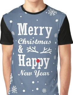 "Christmas Card with text ""Merry Christmas & Happy New Year"", snowflakes and on blue background Graphic T-Shirt"