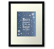 """Christmas Card with text """"Merry Christmas & Happy New Year"""", snowflakes and on blue background Framed Print"""