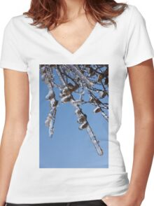 Mother Nature's Christmas Decorations – Sparkling Twigs and Pine Cones Women's Fitted V-Neck T-Shirt