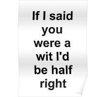 If I said you were a wit I'd be half right Poster