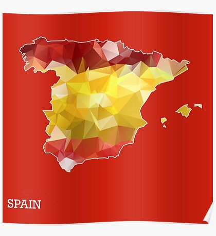 Map of Spain with geometric pattern in Spain's national colors. Low poly Poster