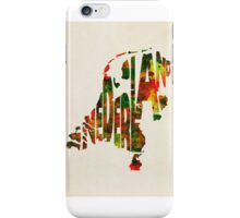 The Netherlands Typographic Watercolor Map iPhone Case/Skin