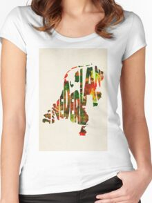 The Netherlands Typographic Watercolor Map Women's Fitted Scoop T-Shirt