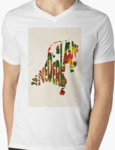 The Netherlands Typographic Watercolor Map Mens V-Neck T-Shirt