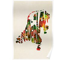The Netherlands Typographic Watercolor Map Poster