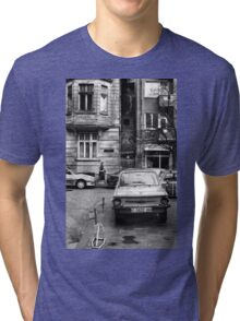 Quiet Streetscape In Sofia From Last Century Tri-blend T-Shirt