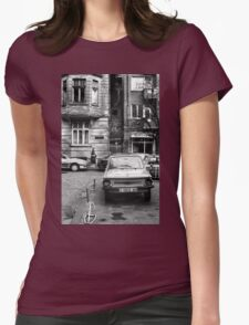 Quiet Streetscape In Sofia From Last Century Womens Fitted T-Shirt