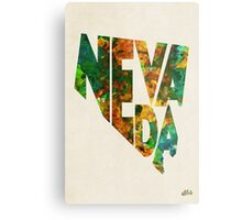 Nevada Typographic Watercolor Map Metal Print