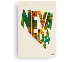 Nevada Typographic Watercolor Map Canvas Print