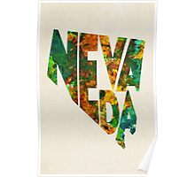 Nevada Typographic Watercolor Map Poster
