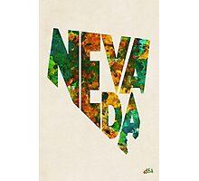 Nevada Typographic Watercolor Map Photographic Print