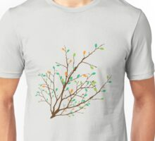 rown branch with the colorful green and orange leaves Unisex T-Shirt