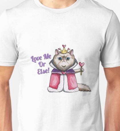 Queen of Hearts Persian Cat Illustration Unisex T-Shirt