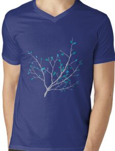 Branch with the colorful blue and green leaves Mens V-Neck T-Shirt