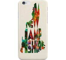 New Hampshire Typographic Watercolor Map iPhone Case/Skin