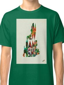 New Hampshire Typographic Watercolor Map Classic T-Shirt