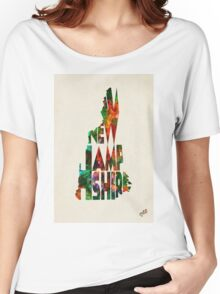 New Hampshire Typographic Watercolor Map Women's Relaxed Fit T-Shirt
