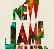 New Hampshire Typographic Watercolor Map Sticker