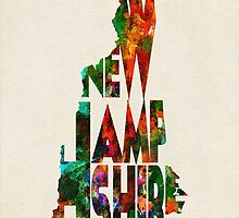 New Hampshire Typographic Watercolor Map by A. TW